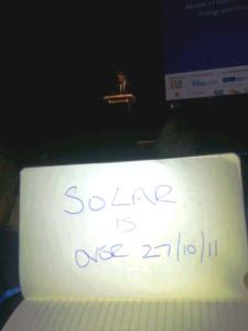Greg Barker almost killed Solar at Solar Energy UK 2011 but the British installer is a creative chap